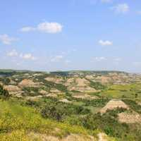 Pinnacles in the landscape at Theodore Roosevelt National Park, North Dakota