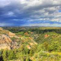 Rain in the distance at Theodore Roosevelt National Park, North Dakota