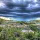 Raining over the landscape at Theodore Roosevelt National Park, North Dakota