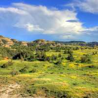 Skies and clouds over the valley at Theodore Roosevelt National Park, North Dakota