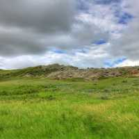 Cloudy day on the hills at White Butte, North Dakota