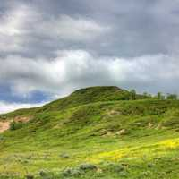 Heavy clouds over the hilltop at White Butte, North Dakota
