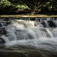 Fuller view of small waterfalls on the Cayuhoga River, Ohio