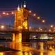 Lights on the suspension bridge in Cincinnati, Ohio