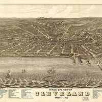 Bird's Eye View of Cleveland in 1877, Ohio