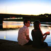 Couple sitting by the River in Dayton, Ohio