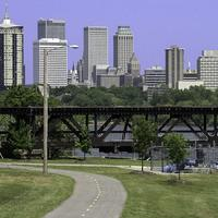 River parks trail system traverses the banks of the Arkansas River in Tulsa, Oklahoma