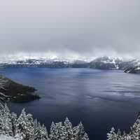 Foggy Skies over Crater Lake National Park, Oregon