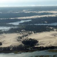 Aerial view of the Oregon Dunes National Recreation Area in North Bend