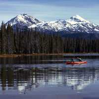 Canoeing in Scott Lake in Willamette National Forest in Oregon