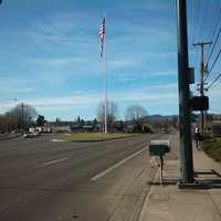 Flagpole on Pacific Avenue in Forest Grove, Oregon