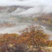 Foggy Landscape in Klickitat River Canyon, Oregon