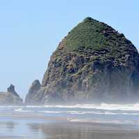Giant Rock Coming out of the sea at Cannon Beach, Oregon