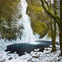 Horsetail Falls covered in Ice after winter storm