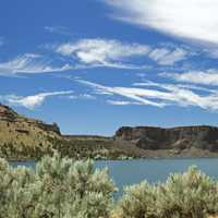 Landscape and lake in Lake Billy Chinook