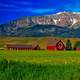Landscape of the farm with mountains behind in Oregon