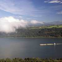 Tugboat on Columbia River Scenic landscape