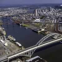 USACE Fremont Bridge Portland and cityscape, Oregon