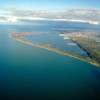 Aerial view of Presque Isle State Park in Erie, Pennsylvania