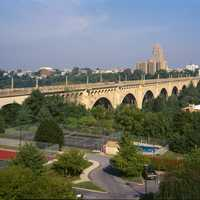 Albertus L. Meyers Bridge landscape and cityscape in Allentown, Pennsylvania