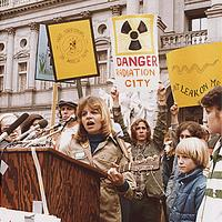 Anti-nuclear protest at Harrisburg in 1979, after Three Mile Island accident in Pennsylvania