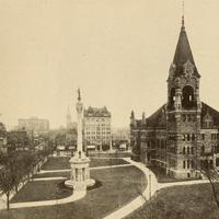 City Hall and Soldiers Monument in 1919 in Scranton, Pennsylvania