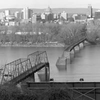 Collapsed Walnut Street Bridge after flood of 1996 in Harrisburg, Pennsylvania
