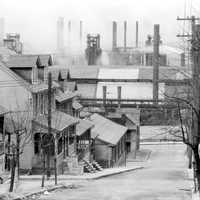 South Bethlehem in 1935, looking north to houses and Bethlehem Steel in Pennsylvania