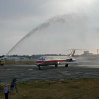 The last DC-9 to fly for US Air arriving at Erie International Airport in Pennsylvania