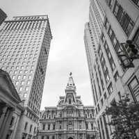 Monochrome photo of City Hall in Philadelphia, Pennsylvania