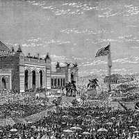 Opening day in 1876 at Centennial Exhibition in Philadelphia, Pennsylvania