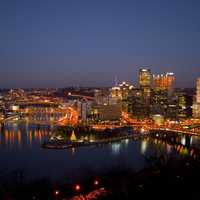 Night Time lighted Cityscape in Pittsburgh, Pennsylvania
