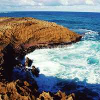Rocky shoreline and waves in Puerto Rico