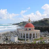 Cemetery by the ocean landscape in San Juan, Puerto Rico