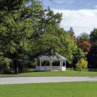 Gazebo and landscape with trees in Providence, Rhode Island