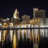 Skyline of Providence, Rhode Island at nighttime over the water