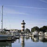 Lighthouse in the Harbor in South Carolina