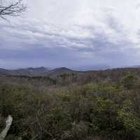 Forested Hills under heavy clouds at Sassafras Mountain, South Carolina