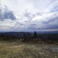 Mountaintop View under heavy clouds at Sassafras Mountain, South Carolina