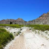 Hiking path into the hills at Badlands National Park, South Dakota