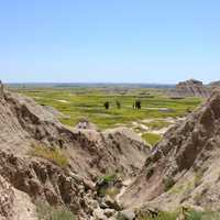Looking between the Hills at Badlands National Park, South Dakota