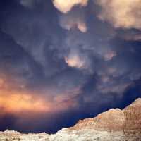 Storm Clouds over the rocky landscape in Badlands National Park