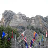 Mount Rushmore from path in the Black Hills, South Dakota