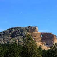 Crazyhorse monument for far off in the Black Hills, South Dakota