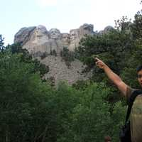 Pointing at Rushmore in the Black Hills, South Dakota