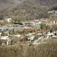 Close-up view of Gatlingburg town in Tennessee in the mountains