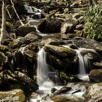 Closeup Waterfalls Cascades scenery in Great Smoky Mountains National Park, Tennessee
