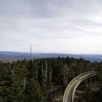 Landscape with a bit of the tower path above the forest at Clingman's Dome, Tennessee