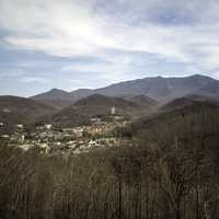 Mountains and the town of Gatlingburg in Tennessee