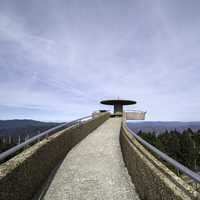 Path to the top of the tower under the sky at Clingman's Dome, Tennessee